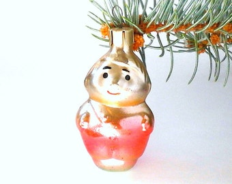 Karlsson / Rare Soviet Christmas tree decoration / Glass Xmas tree ornament / New Year / USSR, 1960s