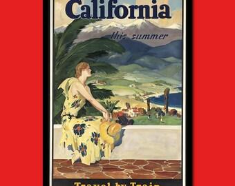 California Travel Print - Californian Poster Travel Art Reproduction Travel Travel Californian Prints Hostel Decor   Reproduction