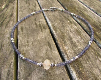 gemstone necklace with iolite citrine sterling bali silver 925