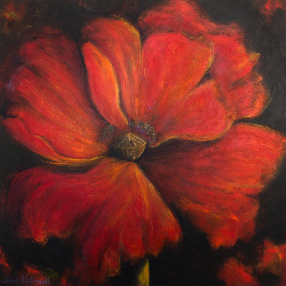 Large Red Painting Large Single Poppy Red Poppy Art Extra