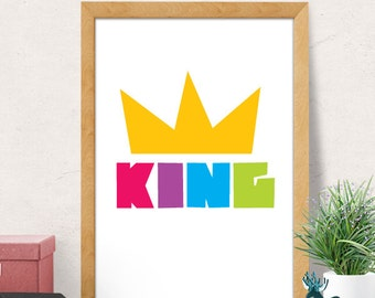 Kids Wall Art Print, Boy Nursery, King nursery print, Kids Nursery Wall Art, Boy Nursery Wall Decor, Playroom Decor, Boys Room Decor