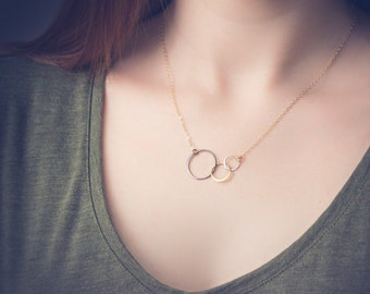 Mixed Metal Necklace, Linked Circle Necklace, Gold Filled or Sterling Silver Chain, Modern Minimalist, Three Circle Necklace, Interlocking