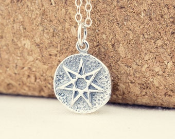 Fairy Star Necklace, Seven Pointed Star, Sterling Silver, Septagram, Amulet Necklace, Faerie Star, Magical Necklace, Magic Amulet