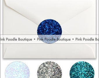 Glitter Sparkle ENVELOPE SEALS / STICKERS (8 pc, 16 pc, 24 pc)  --  choose the colors  --  Hanukkah/Winter Wonderland