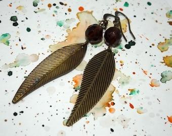 Leaf earrings - Brass earrings - Bohemian earrings - Hippie earrings - Hipie earings - Boho earrings - Bohemian jewelry - Brown earrings