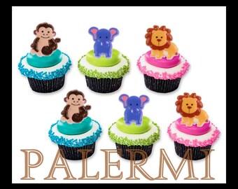 Safari Zoo Animals Cupcake Topper rings, Zoo Animals Cupcake Toppers, Safari Cupcake Topper Rings