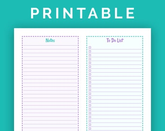 Notes and To Do Lists - Printable PDF