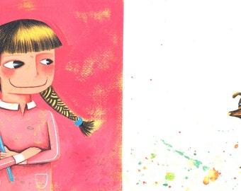 Painter girl illustration