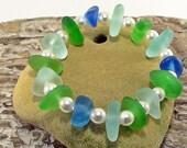 Natural Sea Glass Bracelet - Beach Wedding - Sea Glass Jewelry - Beach Lovers Gift - Stretch Bracelet - Beach Glass Jewelry