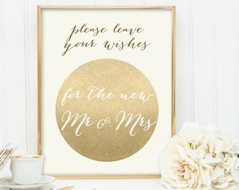 Leave Your Wishes For The New Mr and Mrs / Gold Sparkle Wedding Sign DIY / Metallic Gold and Cream / Champagne Gold ▷ Instant Download JPEG