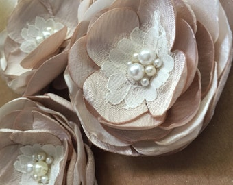 Champagne flower clip, flower girl headband, baby headband, flower headpiece, ivory flower headband Photo Prop