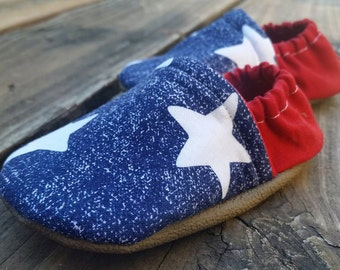 Starstruck soft sole shoes, Fourth of July Shoes, Vegan Moccasins, Baby booties, toddler shoes