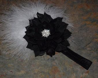 Black flower headband with white marabou