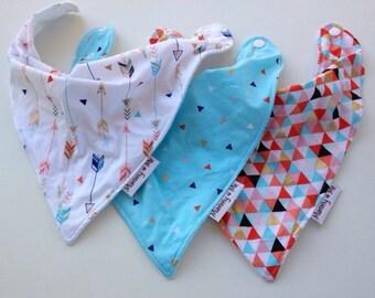 Blue Triangle set / Traditional Style / Arrows / Triangles / Gold / Geometric / Dribble Bib / Drool Bib / Toddler Bib / Newborn Bib