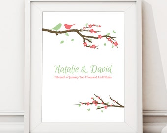 Birds Unique Wedding Gifts For Couple, Romantic Wedding Presents Personalised, Wedding Gift Ideas, Custom Wedding Print Poster (unframed)