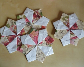 Floral origami coasters – paper anniversary – first anniversary, 1st anniversary gift - vase mat