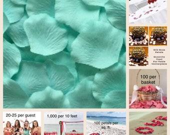 500 Mint Silk Rose Petals - Rose Petals for Weddings