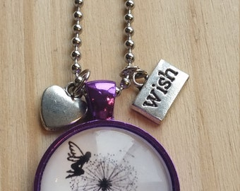 Handmade Artisan Fairy Wishes Necklace Glass Tile Pendant Purple Free Shipping