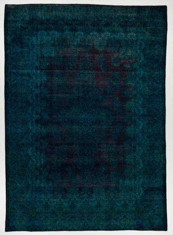 10x14 overdyed rug in aqua blue color hand knotted area rug for Navy and teal rug