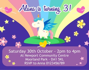 Printed Personalised Unicorn Theme Party Invitations x10
