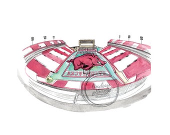 University of Arkansas Stadium print