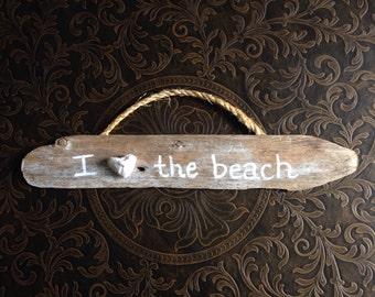 Driftwood I Heart the Beach Wall Hanging with Lake Michigan heart stone