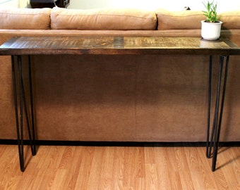 Metal inlayed reclaimed wood sofa table with hairpin legs