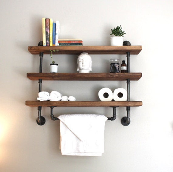 Shelving unit reclaimed wood shelving industrial storage for Wooden bathroom shelving unit