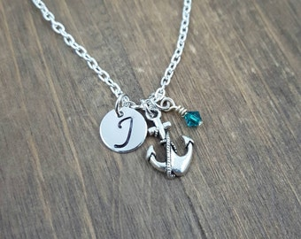 Personalized Anchor Necklace - Hand stamped Monogram Anchor Necklace - Initial, Birthstone Necklace - Swarovski Crystal Birthstone