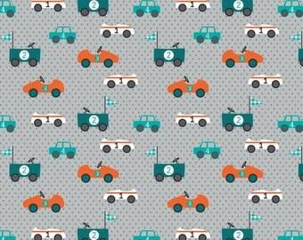 Grey Car Print Babycord (Pincord) Corduroy, 21 Wale Corduroy Fabric,Printed Corduroy,Cotton Corduroy,Babycord- Half Metre