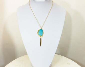 Turquoise Howlite Necklace  18K GF
