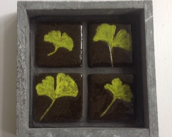 4 ceramic tiles in a grey wooden frame, leaves of the gingko biloba tree, home decor, handmade, unique gift