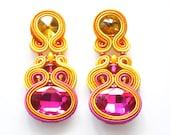Colorful Earrings, Glamour Jewelry, Hot Pink Yellow Earrings, Stud Earring, Bollywood Earrings, Soutache Pendientes, Big Chandelier Earrings