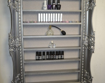 Nail Polish Rack Display Frame wide & very ornate style pewter silver