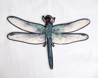 Dragonfly Appliques,Turquoise Dragonfly Patch,Sew On Patch,Dragonfly Patch,Embroidered Dragonfly,Sequined Dragonfly
