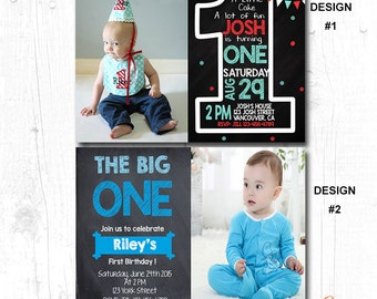 BOYS FIRST BIRTHDAY Party Invitation, Boys 1st Birthday Party Invitation,Modern Birthday Invitation, Boys 1st birthday Invitation