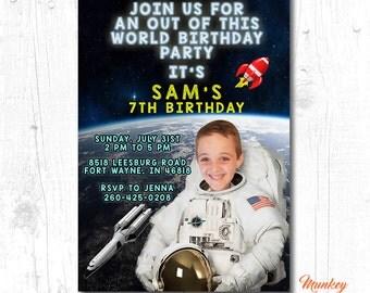 SPACE BIRTHDAY INVITATION, Astronaut Birthday Invitation, Printable Photo Birthday Invitation, Boy First Birthday Invitation, Digital Invite
