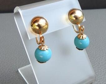 Vintage Dangling Turquoise Bead Screw Back Earrings