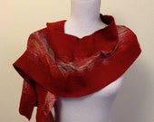 Deep Red handmade felted wool and silk scarf with pretty floral silk