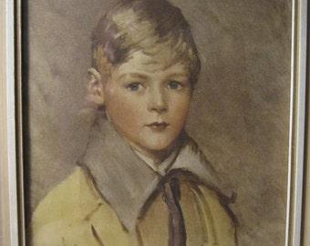 Vintage Print Young Boy Arthur Garratt Size 14.25 x 11.25