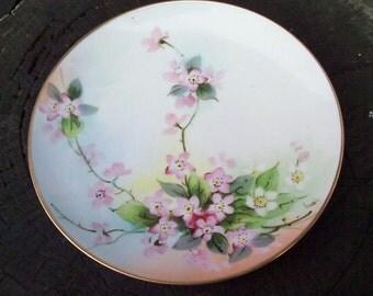 "Vintage Hand Painted NIPPON PORCELAIN PLATE  8"" Cherry Blossom Springtime - Gold trim - China painting - signed ""Koenig  - Artist - Folk Art"
