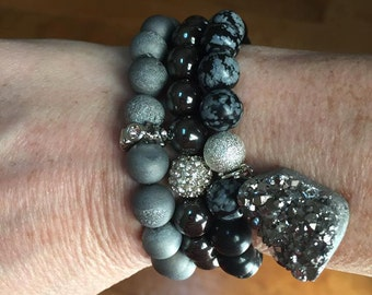 Gray Black Beaded Bracelets, Druzy Bracelet, Stackable Beaded Bracelet, Boho Jewelry, Natural Stones