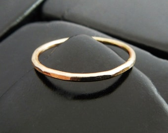 Yellow Gold Band - Simple Gold Ring - Gold Stacking Ring - Gold Fill Ring - Plain Gold Band - Gold Wedding Ring - Hammered Gold Ring
