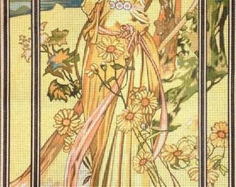 """Gobelin Tapestry Needlepoint Kit """"Mucha-Brightness of Day""""printed canvas 332"""