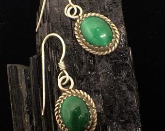 Sterling Silver Malachite Dangle Earrings E-210