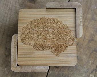 Personalized Steampunk Brain Coaster Set 6, Brain Gift, Cerebral, Cerebro, Brain, smart, intelligence, gift for Professor, teacher, student
