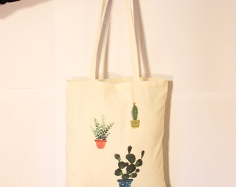 Canvas Tote Bag - Reusable and Washable - Sustainable Tote Bag- Organic - Screen Printed Cotton Grocery Bag - Canvas Shopper Tote  - Cactus