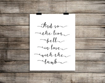 Twilight And so the lion fell in love with the lamb Calligraphy Style Typography Art Instant Download A4