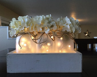 Mason Jar Centerpiece, White Planter Box With Frosted Jars, Farmhouse Living  Room, Coffee Part 97