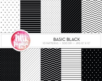 Digtal Paper Patterns | Basic Black | 12 x 12 inches